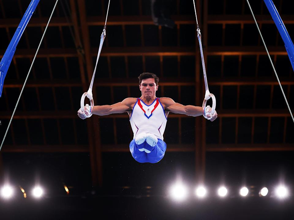Russian gymnast Artur Dalaloyan during the men's team competition at the Tokyo Olympics.