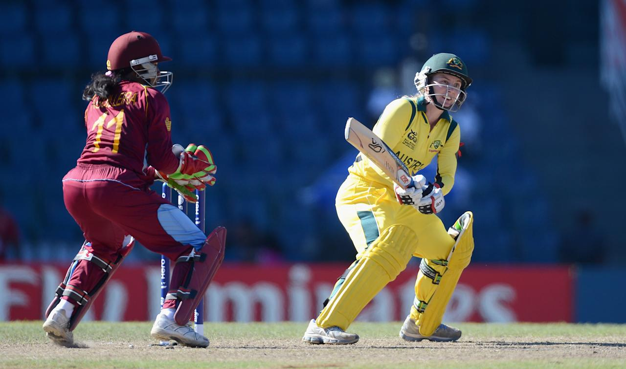 COLOMBO, SRI LANKA - OCTOBER 05:  Australia captain Jodie Fields bats during the ICC Women's World Twenty20 2012 Semi Final between Australia and the West Indies at R. Premadasa Stadium on October 5, 2012 in Colombo, Sri Lanka.  (Photo by Gareth Copley/Getty Images)