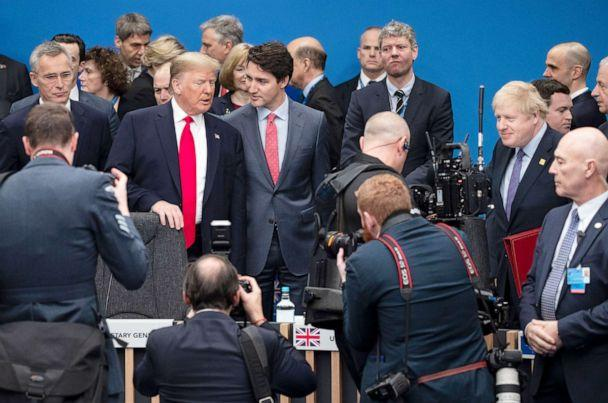 PHOTO: President Donald Trump is joined by UK Prime Minister Boris Johnson and Canadian Prime Minister Justin Trudeau in attending the NATO summit at the Grove Hotel in Watford England, Dec. 4, 2019. (Dan Kitwood/Getty Images,FILE)