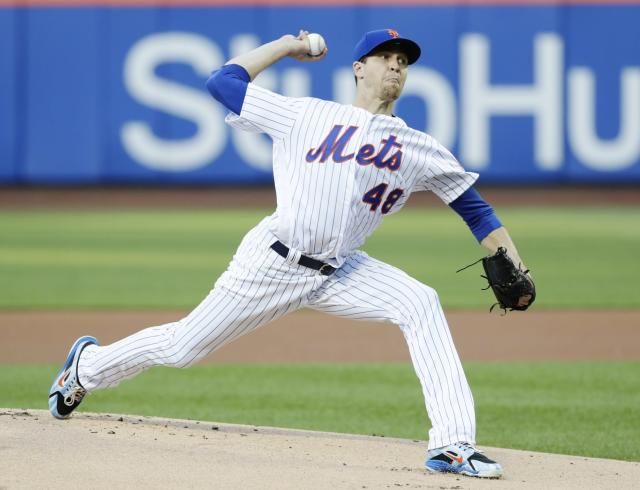 New York Mets' Jacob deGrom delivers a pitch during the first inning of a baseball game against the Miami Marlins Wednesday, May 23, 2018, in New York. (AP Photo/Frank Franklin II)