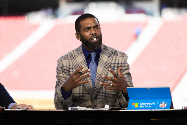 Wrong way: ESPN personality Randy Moss said his pilot went to the wrong Bristol on Sunday. (Ric Tapia/Getty Images)