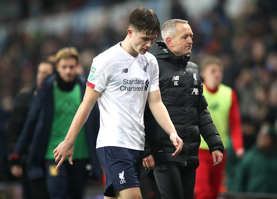 Liverpool's Morgan Boyes (left) and under 23 manager Neil Critchley appear dejected at half time during the Carabao Cup, Quarter Final match at Villa Park, Birmingham. (Photo by Nick Potts/PA Images via Getty Images)