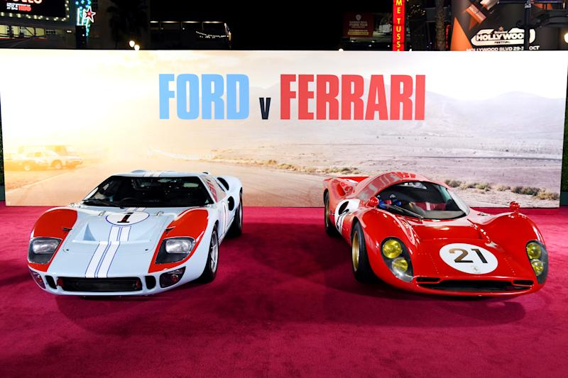 """HOLLYWOOD, CALIFORNIA - NOVEMBER 04: Cars on display at the Premiere of FOX's """"Ford V Ferrari"""" at TCL Chinese Theatre on November 04, 2019 in Hollywood, California. (Photo by Kevin Winter/Getty Images)"""
