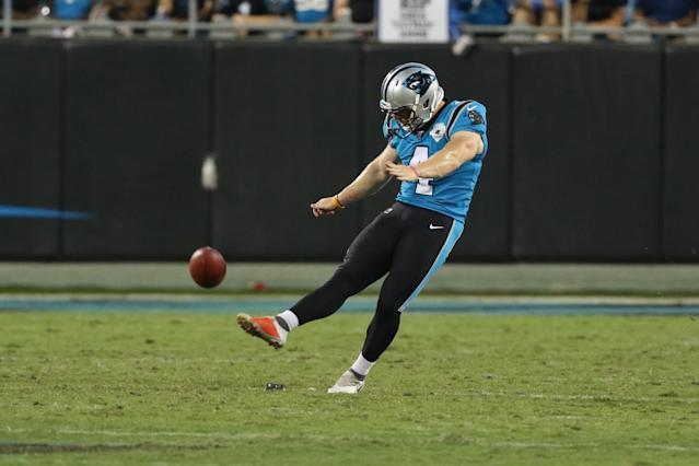 Panthers kicker Joey Slye nearly became the first player to make a fair-catch kick attempt since 1976. (John Byrum/Getty Images)