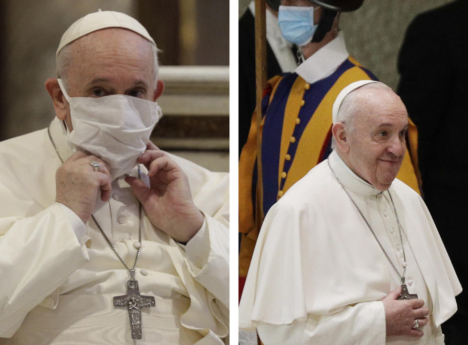 In this combo picture, Pope Francis adjusts his face mask as he attends an inter-religious ceremony for peace in Rome Tuesday, and arrives for his general audience at the Vatican without mask Wednesday, Oct. 21, 2020. A day after donning a facemask for the first time during a liturgical service, Pope Francis was back to his mask-less old ways during his general audience at the Vatican despite surging coronavirus infections across Europe. (AP Photo/Gregorio Borgia)