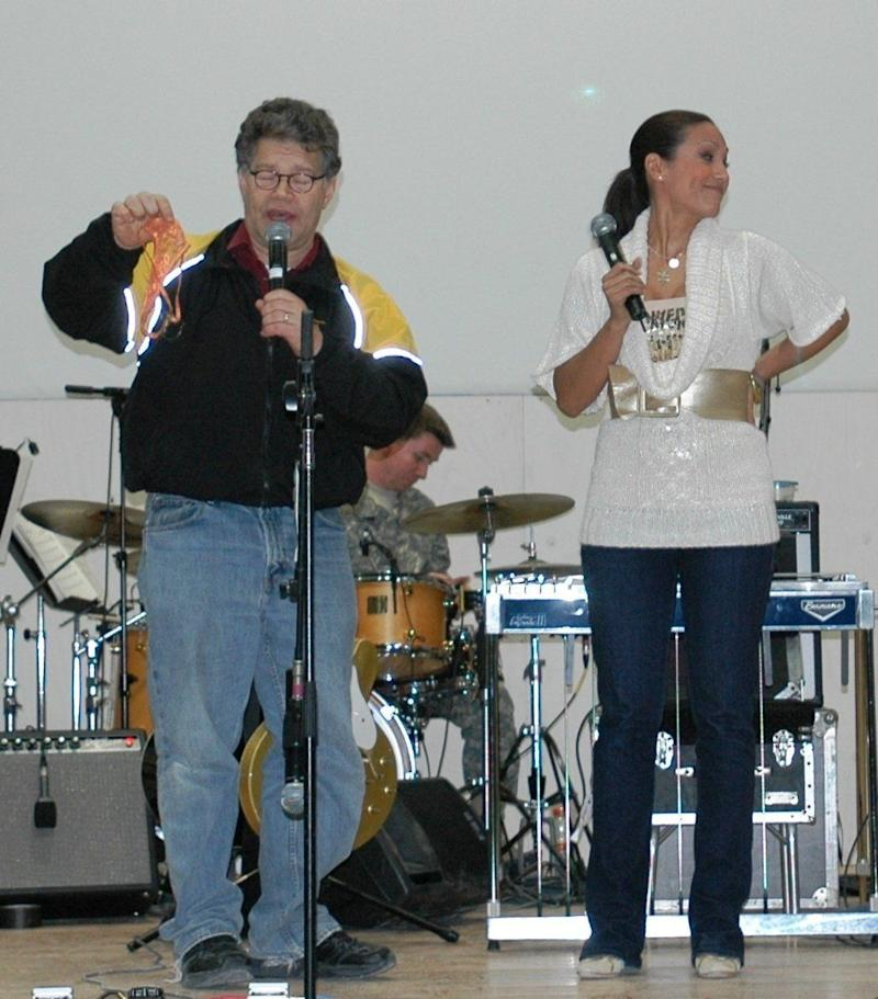 Franken and Tweeden performing a USO skit in Mosul, Iraq, Dec. 16, 2006.