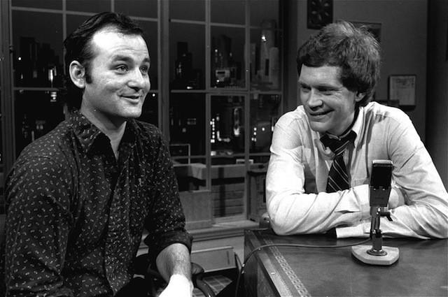 """David Letterman at the taping of his first talk-comedy hour """"Late Night with David Letterman"""" with guest Bill Murray, February 1, 1982 in New York. (AP Photo/Nancy Kaye)"""