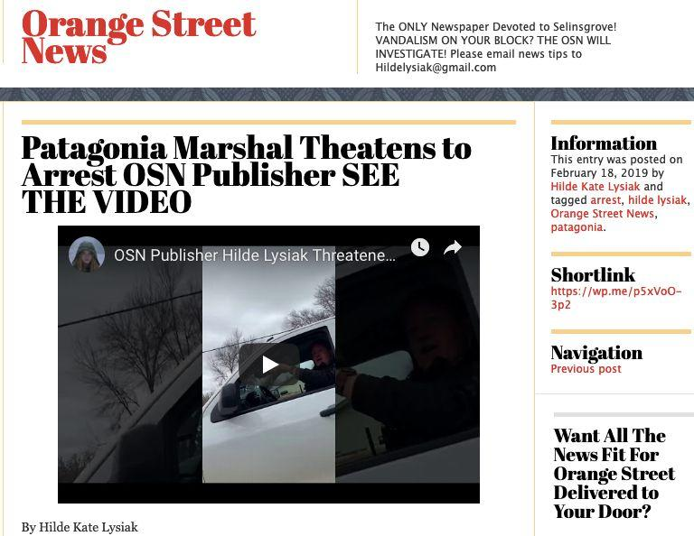 "Front page of the Orange Street News. (Photo: <a href=""https://orangestreetnews.com/2019/02/18/patagonia-marshal-theatens-to-arrest-osn-publisher-see-the-video/"" target=""_blank"">Screen Shot/Orange Street News front page</a>)"