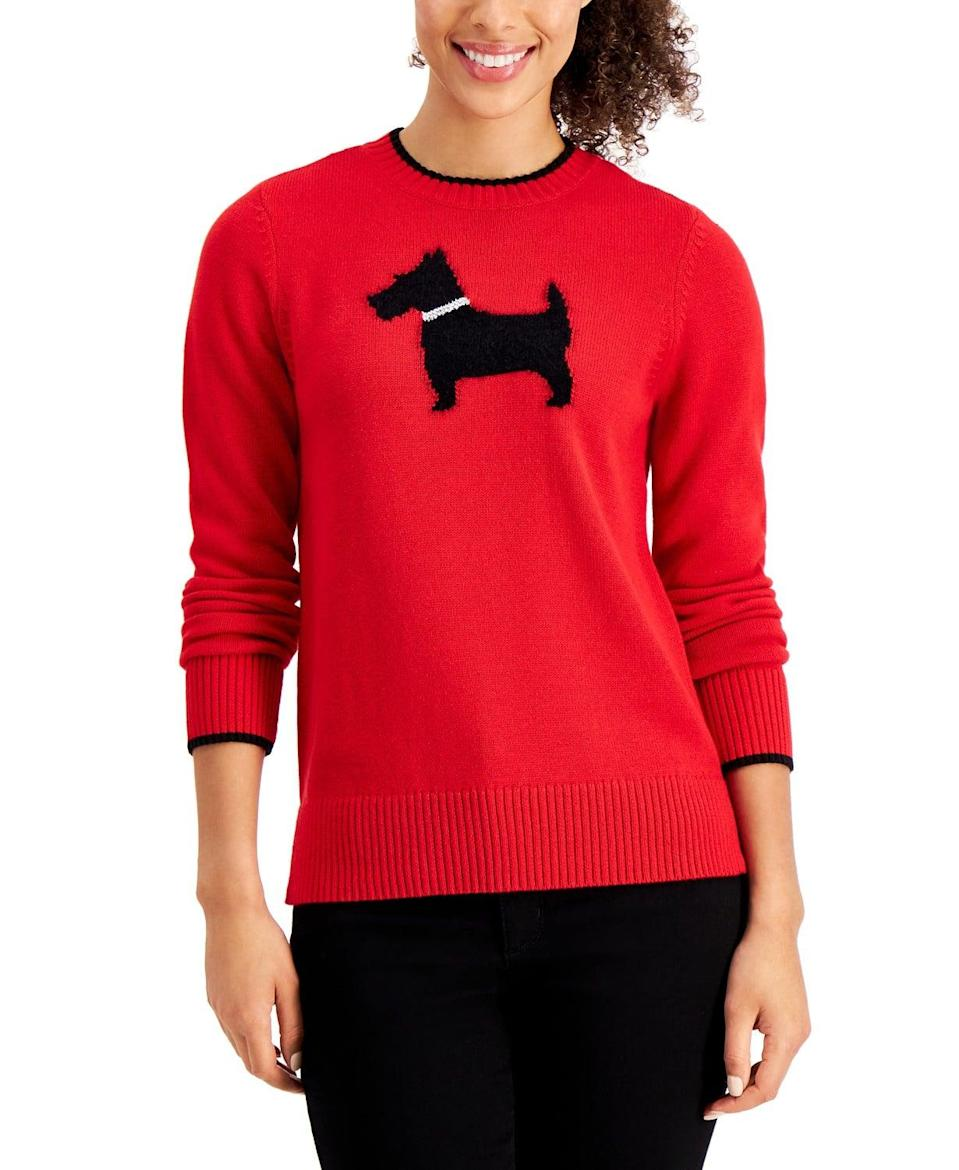 <p>With a minimalistic design, this <span>Charter Club Terrier-Print Sweater</span> ($24, originally $60) can be worn all year long.</p>