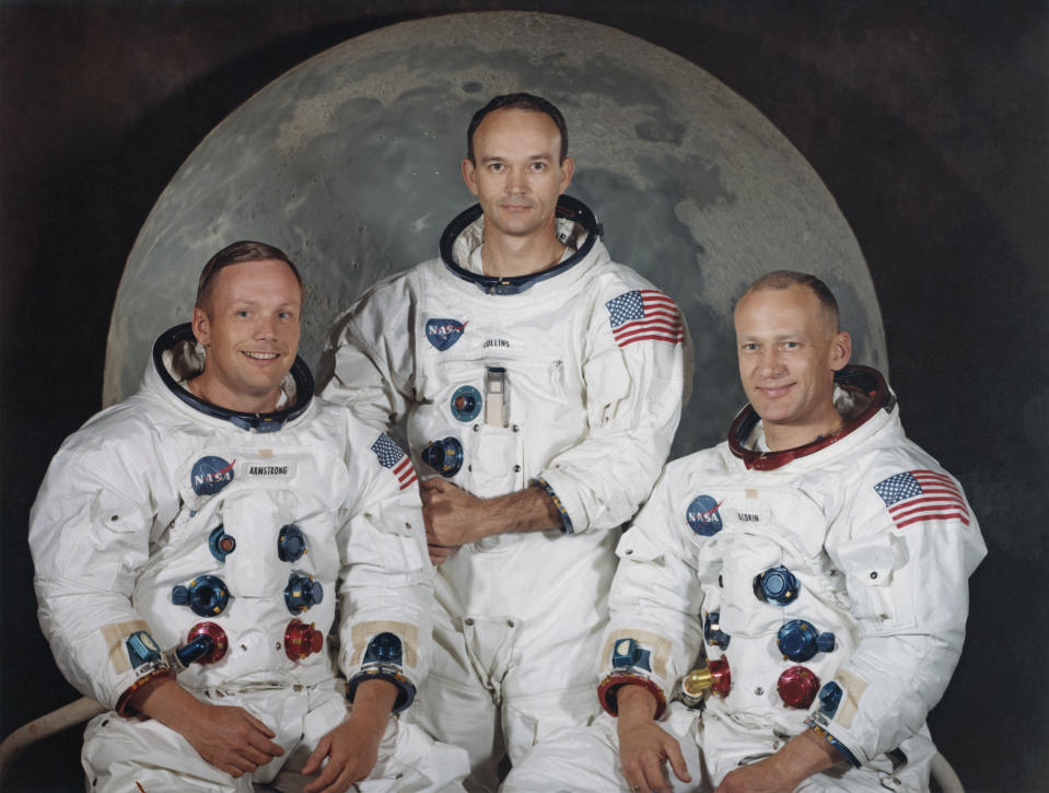 The three crew members of NASA's Apollo 11 lunar landing mission pose for a group portrait a few weeks before the launch, May 1969. From left to right, Commander Neil Armstrong, Command Module Pilot Michael Collins and Lunar Module Pilot Edwin 'Buzz' Aldrin Jr. (Photo: Space Frontiers/Getty Images)