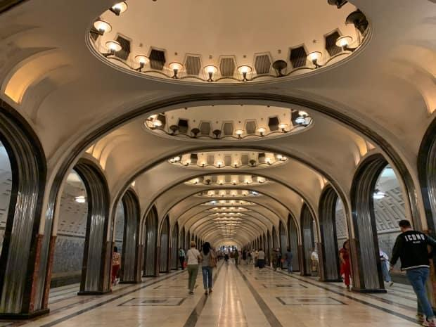The Mayakovskaya Metro station, which opened in 1938, is considered to be one of the most impressive stations in the Moscow transit system.