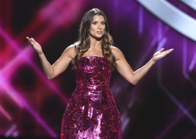 """A <a class=""""link rapid-noclick-resp"""" href=""""/nascar/nationwide/drivers/1311"""" data-ylk=""""slk:Danica Patrick"""">Danica Patrick</a> joke making light of the NFL's anthem controversy drew some groans and a not-so-subtle rebuke from <a class=""""link rapid-noclick-resp"""" href=""""/nfl/players/8779/"""" data-ylk=""""slk:Chris Long"""">Chris Long</a> at Wednesday's ESPYs. (AP)"""