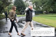 <p>Approximately five years after Trump tweeted this, images surfaced of him and a high-heel clad Melania visiting Texas after Hurricane Harvey standing around in puddles. (Getty) </p>