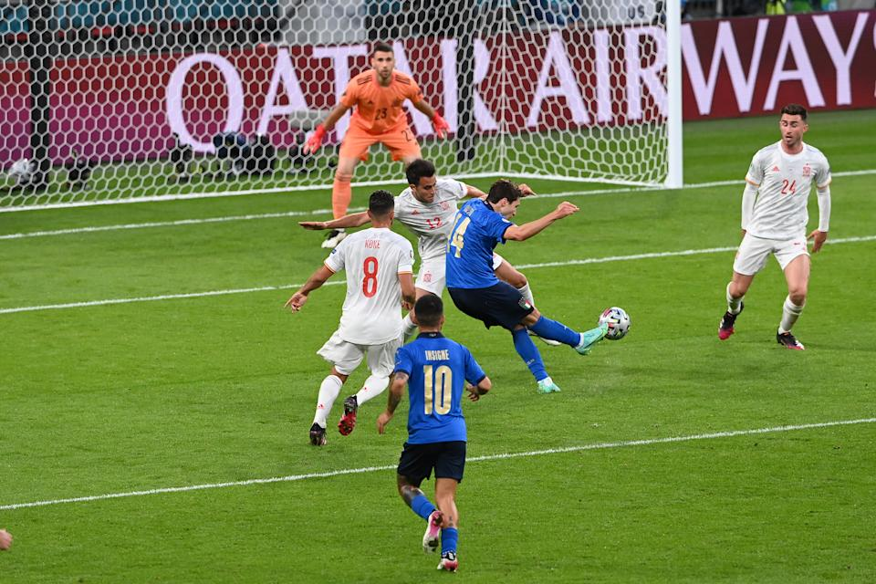 Federico Chiesa (pictured) scores during the UEFA Euro 2020 Championship Semi-final match between Italy and Spain at Wembley Stadium.