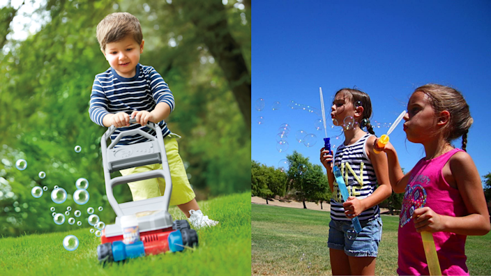 Your kids can enjoy plenty of fun with toys like a bubble-blowing toy lawnmower (left) or a bubble wand (right).