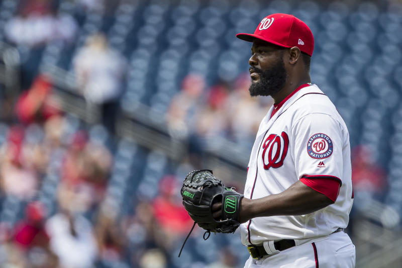 WASHINGTON, DC - JULY 31: Fernando Rodney #56 of the Washington Nationals pitches against the Atlanta Braves during the ninth inning at Nationals Park on July 31, 2019 in Washington, DC. (Photo by Scott Taetsch/Getty Images)