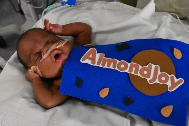 PHOTO: Baby from the Tallahassee Memorial HealthCare NICU dressed up in an Almond Joy Halloween costume. (Tallahassee Memorial HealthCare)