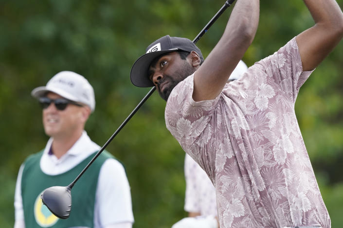 Sahith Theegala watches his drive from the third tee during the final round of the Sanderson Farms Championship golf tournament in Jackson, Miss., Sunday, Oct. 3, 2021. (AP Photo/Rogelio V. Solis)