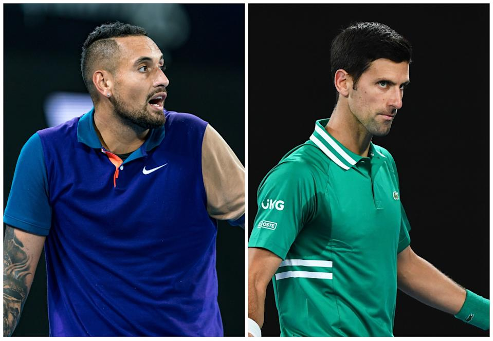 Nick Kyrgios y Novak Djokovic durante sus respectivos duelos de primera ronda del Open de Australia. (Foto: Andy Cheung / Getty Images / William West / AFP / Getty Images).