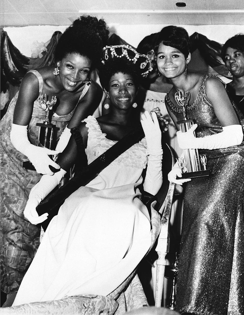 Saundra Williams, 19, center, of Philadelphia, Pa., was crowned Miss Black America 1969 at ceremonies in Atlantic City, Sept. 8, 1969. Linda Johnson, 21, left, also of Philadelphia, was chosen second runner-up, while Theresa Claytor, 20, right, of Washington, D.C. was first runner-up. Williams was crowned a little over 2 hours after Judith Ann Ford, of Belvedere, Ill., was chosen Miss America 1969 at Convention Hall.