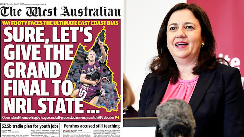 A 50-50 split image shows the West Australian's from page from July 16 on the left and Queensland premier Anastasia Palaszczuk on the right.