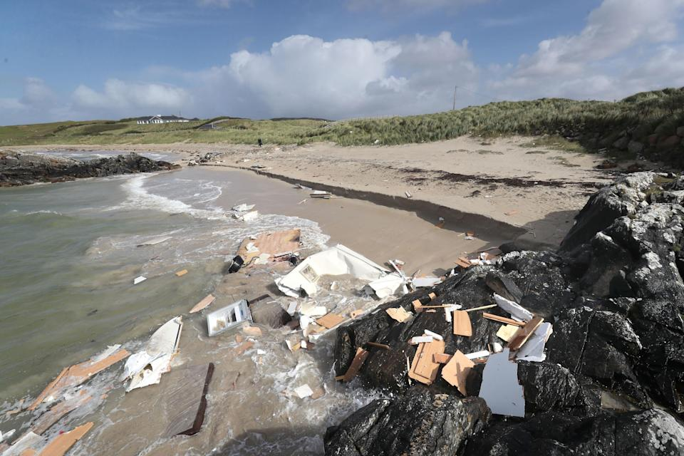 The scene in Claddaghduff, near Clifden in Co Galway where a woman died after her caravan was blown off a cliff in Storm Ali (Getty Images)