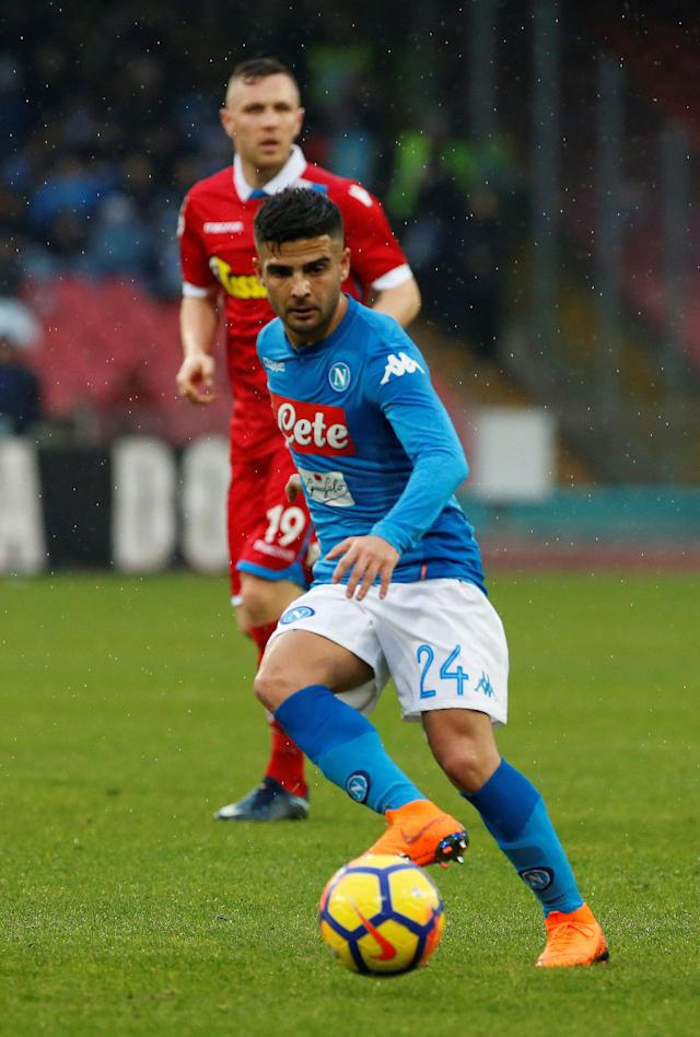 Soccer Football - Serie A - Napoli vs SPAL - Stadio San Paolo, Naples, Italy - February 18, 2018 Napoli's Lorenzo Insigne in action REUTERS/Ciro De Luca