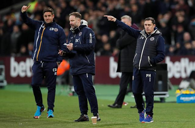Soccer Football - FA Cup Third Round Replay - West Ham United vs Shrewsbury Town - London Stadium, London, Britain - January 16, 2018 Shrewsbury Town manager Paul Hurst (R) and goalkeeping coach Danny Coyne REUTERS/David Klein