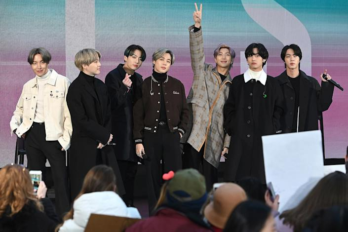 BTS members are seen onstage during a live interview on NBC's TODAY show at Rockefeller Plaza in New York City, Feb. 21