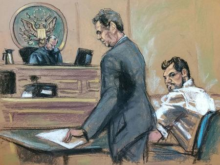 Mehmet Hakan Atilla (R), a deputy general manager of Halkbank, is shown in this court room sketch with his attorney Gerald J. DiChiara (C) as he appears before Judge James C. Francis IV in Manhattan federal court in New York, New York, U.S., March 28, 2017.   REUTERS/Jane Rosenberg