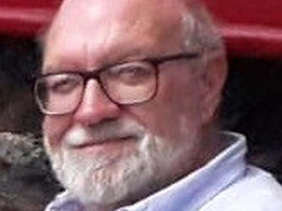 Retired lecturer Gerald Corrigan, 74, who was killed after being hit by a crossbow as he adjusted the satellite dish outside his home in a remote part of Holyhead, Anglesey, Wales, on 19 April, 2019: Family handout/PA