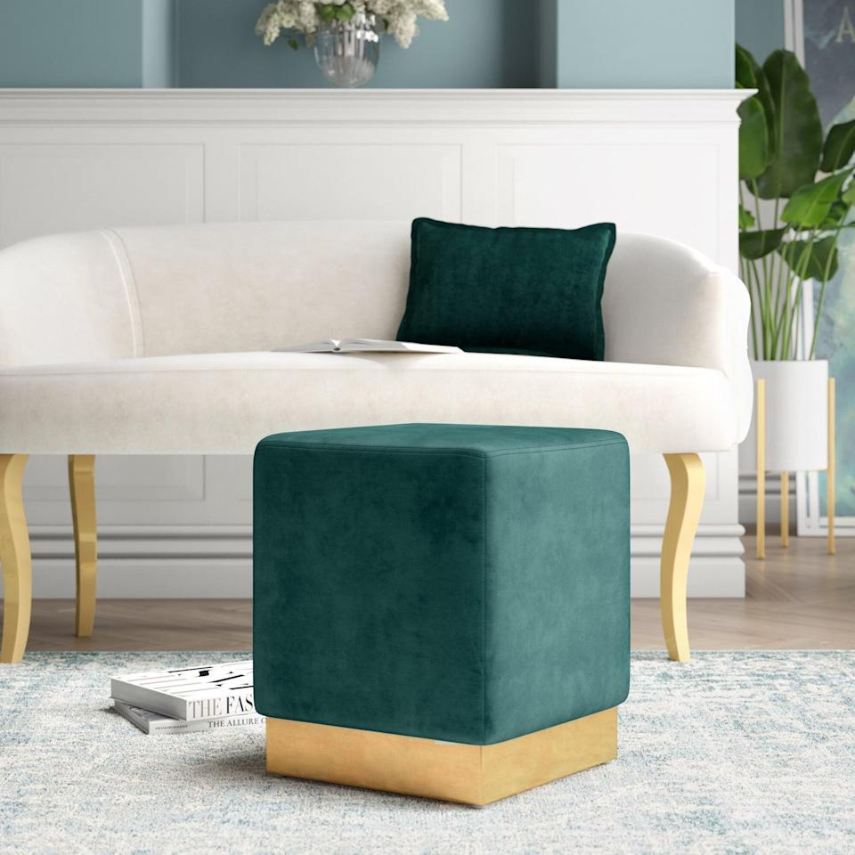 <p>The rich green of this <span>Friedell Ottoman</span> ($87, originally $200) will enhance any rug.</p>