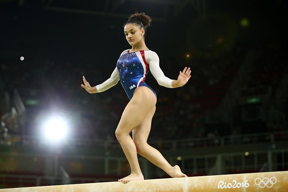 Laurie Hernandez of the United States performs during the 2016 Olympics on Aug. 17, 2016, in Rio de Janeiro, Brazil.