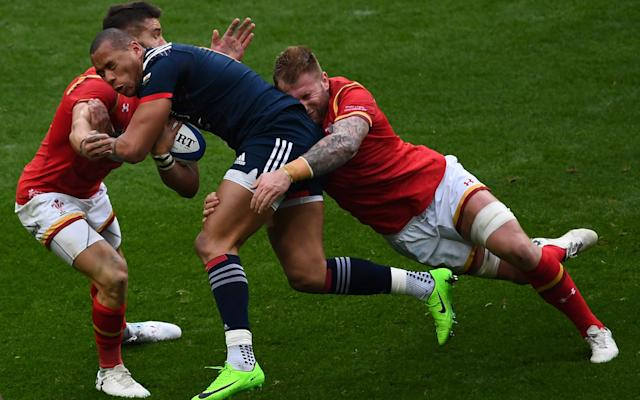 <span>Gael Fickou on the run for France</span> <span>Credit: GABRIEL BOUYS/AFP/Getty Images </span>