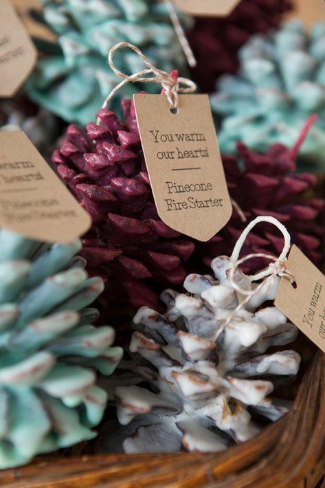"<p>How perfect for a winter wedding! This darling pine cone fire starter is the ideal themed favor your guests will enjoy using to light their fireplaces or fire bowls at home.</p><p><strong>See more at <a href=""https://somethingturquoise.com/2014/12/12/diy-pinecone-fire-starter-favors/"" rel=""nofollow noopener"" target=""_blank"" data-ylk=""slk:Something Turquoise"" class=""link rapid-noclick-resp"">Something Turquoise</a>. </strong></p>"