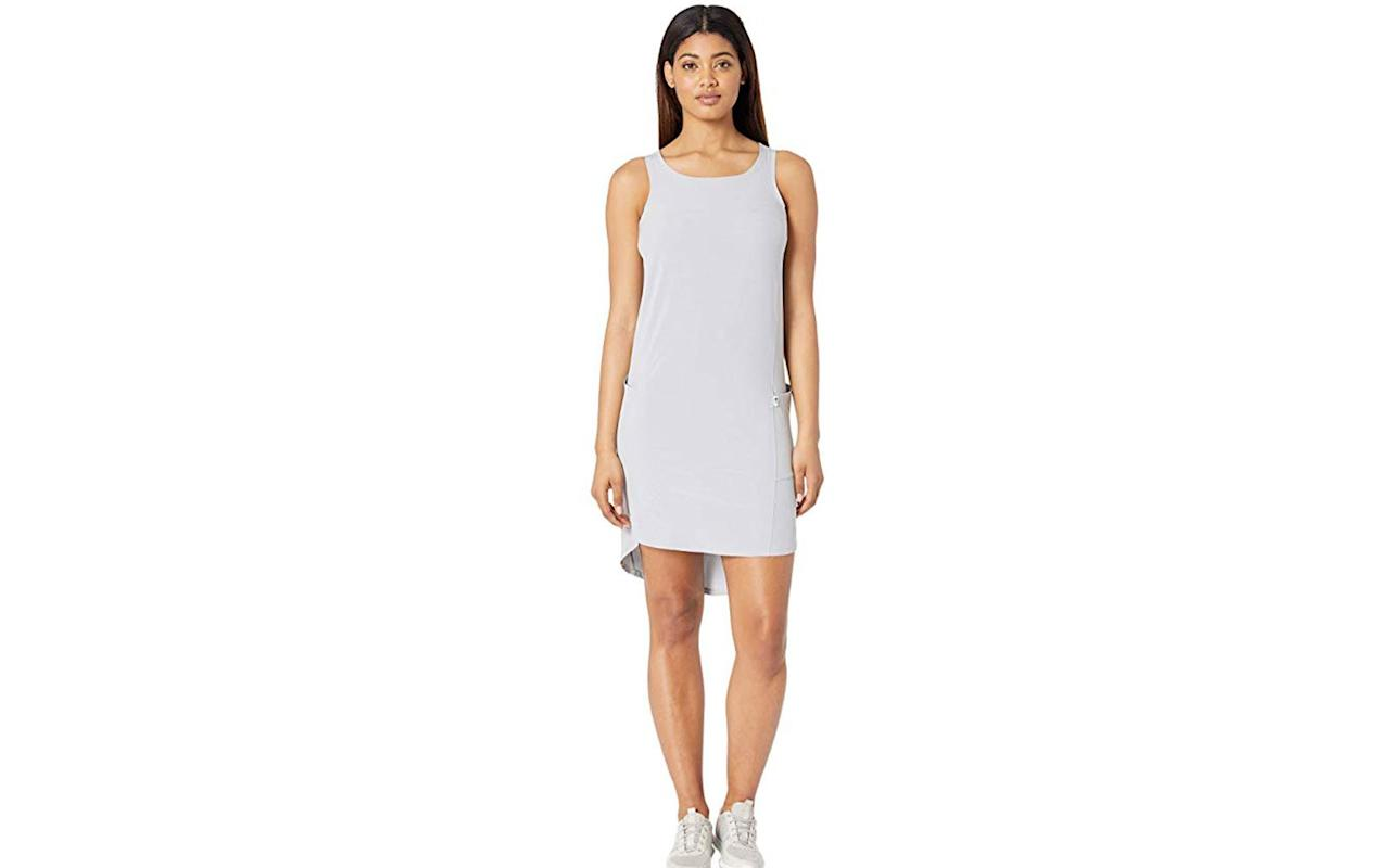 """<p>In addition to its flattering fit and style, the Dawn Break Dress can work for any destination, from warm climates on its own or cooler ones while looking sharp. It also has clever FlashDry technology so as well as being wrinkle-free, the dress pushes sweat or moisture away while staying breathable.</p> <p>To buy: <a href=""""http://www.anrdoezrs.net/links/7876402/type/dlg/sid/TLFASWrinkleResistantDressesLTigarSept19/https://www.zappos.com/p/the-north-face-dawn-break-dress-tnf-light-grey/product/9149087/color/657747"""" target=""""_blank"""">zappos.com</a>, $37 (originally $60)</p>"""