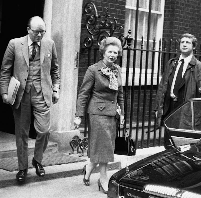 FILE - In this April 14, 1982 file photo, British Prime Minister Margaret Thatcher leaves her official 10 Downing Street residence in London, for an emergency session of Parliament on the Falklands crisis. She called it, simply, the worst moment of her life.  It came in March 1982 during the days before the Falklands War, after Argentina established an unauthorized presence on Britain's South Georgia island amid talk of a possible invasion of the Falklands, long held by Britain.  The vivid picture of Thatcher's feelings of helplessness and rage,  and eventual resolve are portrayed in thousands of pages of formerly Secret documents released by the National Archives on Friday, Dec. 28, 2012.  (AP Photo/Bob Dear, File)