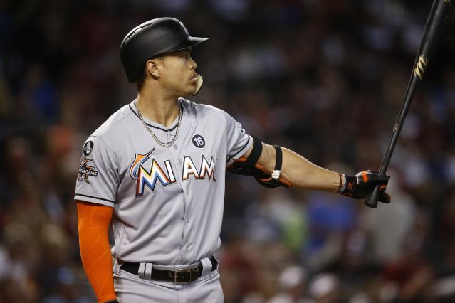 "<a class=""link rapid-noclick-resp"" href=""/mlb/players/8634/"" data-ylk=""slk:Giancarlo Stanton"">Giancarlo Stanton</a> is on the trade block this offseason. (AP Photo)"