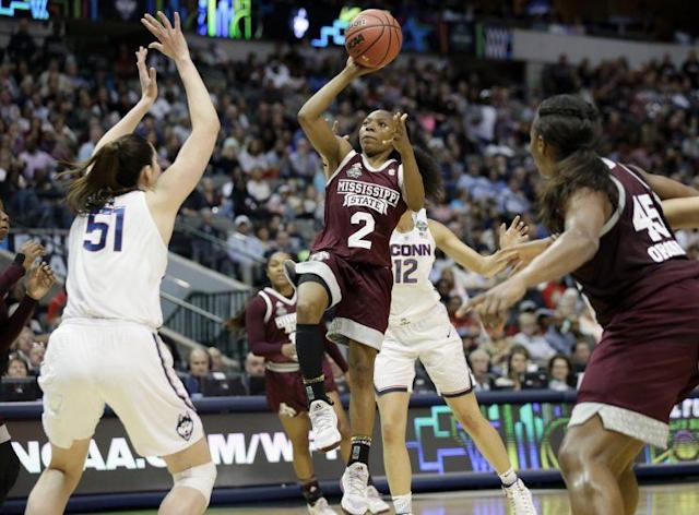 Mississippi State pulled off arguably the greatest upset in women's basketball history, shocking UConn. (AP)