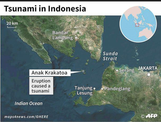 PHOTO: Map locating the Anak Krakatoa volcano and the zone hit by a tsunami in Indonesia. (AFP/Newscom)