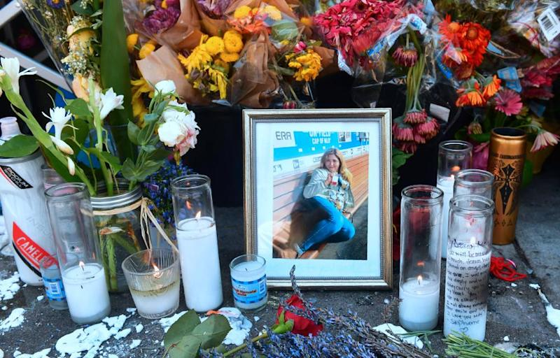 A memorial for Melyda Corado, the manager who was killed by a police bullet.