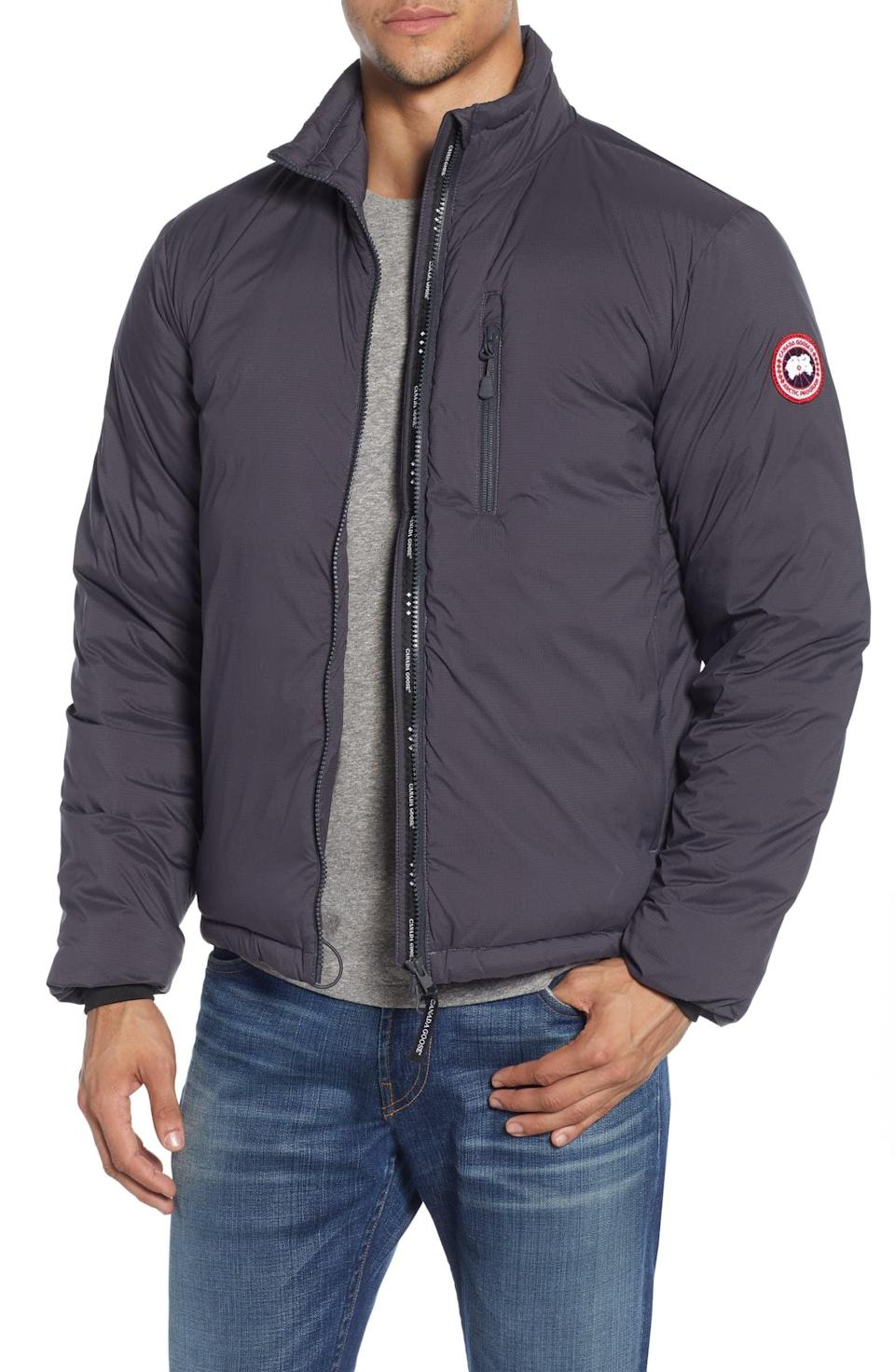 <p>He'll look forward to cold weather when he's got this <span>Canada Goose Lodge Packable 750 Fill Power Down Jacket</span> ($525).</p>