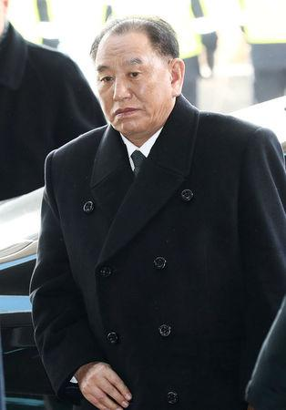 Vice chairman of the North Korean ruling party's central committee Kim Yong Chol arrives at his hotel in Seoul, South Korea, February 25, 2018.    Yonhap via REUTERS