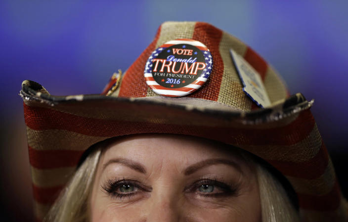 <p>Donna Deer, a supporter of Republican presidential candidate Donald Trump, waits to be interviewed during an election night rally in Indianapolis, Nov. 8, 2016. (Photo: Michael Conroy/AP) </p>