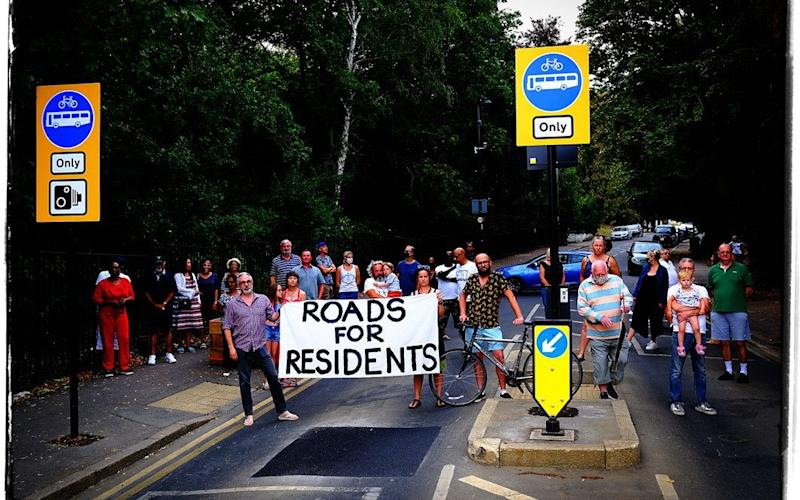 Residents in Crystal Palace protesting against new road closures  - Andy Blackmore/Triangle News