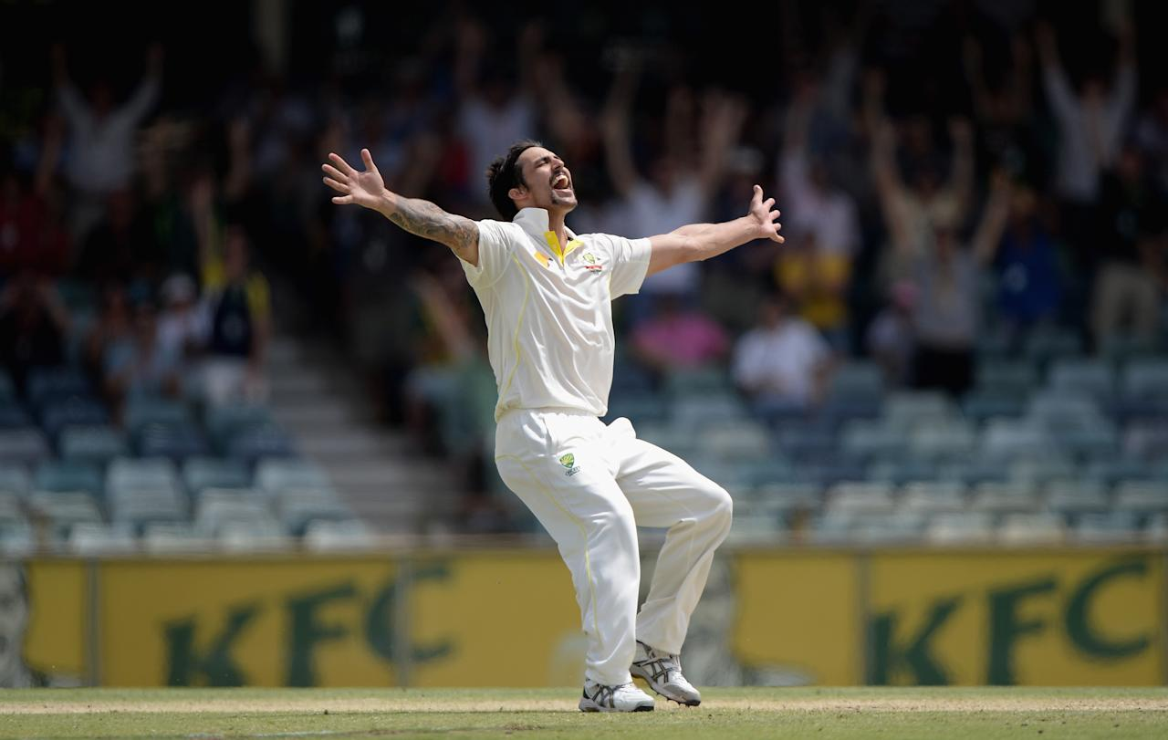 PERTH, AUSTRALIA - DECEMBER 17:  Mitchell Johnson of Australia celebrates takes the final wicket of James Anderson of England to win the Third Ashes Test Match between Australia and England at WACA on December 17, 2013 in Perth, Australia.  (Photo by Gareth Copley/Getty Images)