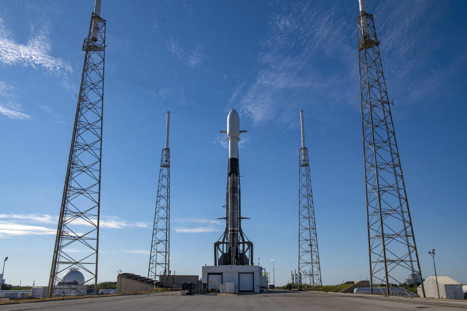 A SpaceX Falcon 9 rocket stands atop its Cape Canaveral Space Force Station launch pad to launch 143 satellites on the Transporter-1 rideshare mission from Florida's Space Coast on Jan. 23, 2021.
