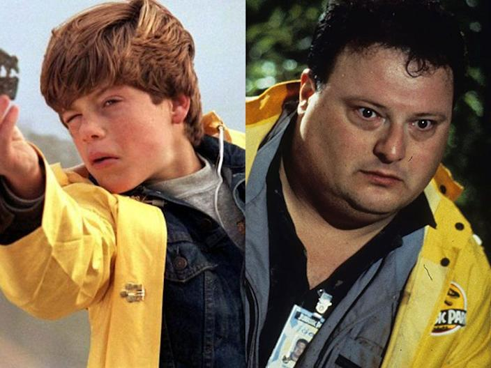 "Many of Dennis Nedry's costumes directly reference ""The Goonies,"" such as this yellow rain jacket."