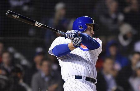 Apr 23, 2019; Chicago, IL, USA; Chicago Cubs first baseman Anthony Rizzo (44) hits a two run home run against the Los Angeles Dodgers in the second inning at Wrigley Field. Mandatory Credit: Quinn Harris-USA TODAY Sports