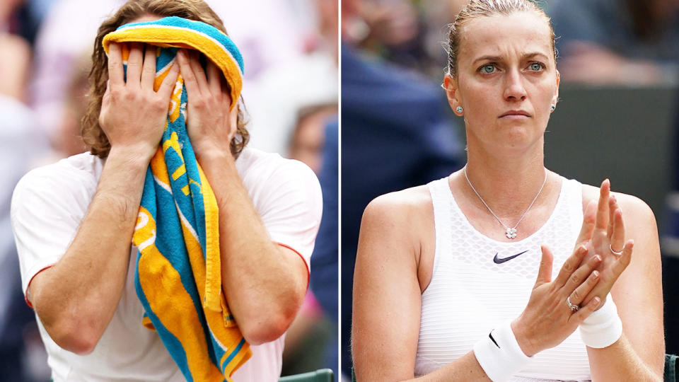 Stefanos Tsitsipas and Petra Kvitova, pictured here after being ousted in the first round at Wimbledon.